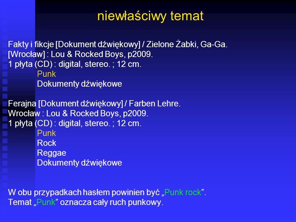 niewłaściwy temat Fakty i fikcje [Dokument dźwiękowy] / Zielone Żabki, Ga-Ga. [Wrocław] : Lou & Rocked Boys, p2009.